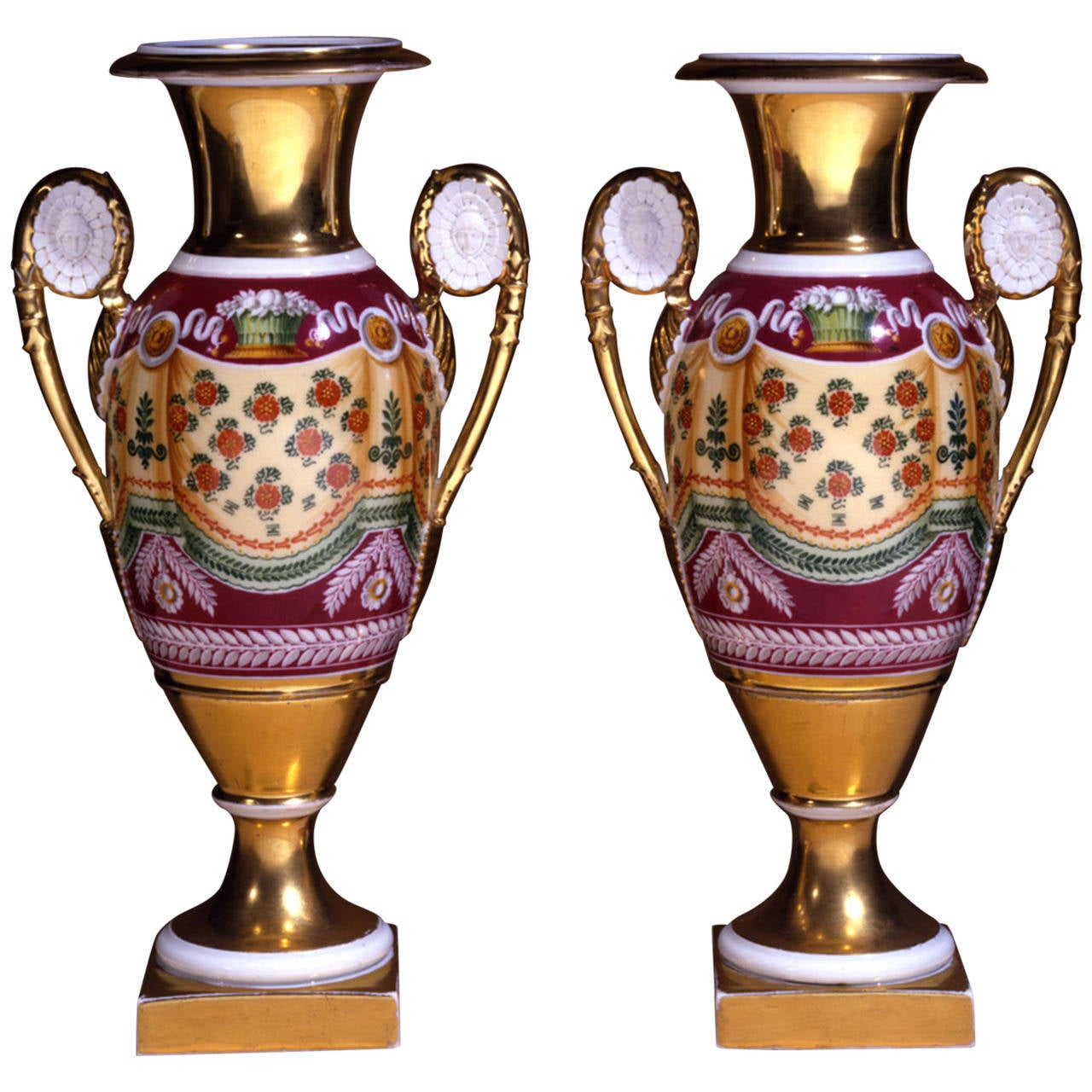 Pair of 'Old Paris' Porcelain Vases with Drapery Decoration