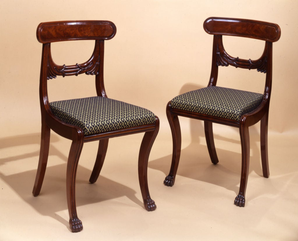 Boston, Massachusetts, circa 1820. Mahogany (secondary woods: Birch and maple; slip seats: Birch and pine) Measures: 33 1/4 in. high, 18 5/8 in. wide, 19 ¼ in. deep (overall).  Ex Coll: Private collection, until 2004; to [Hirschl & Adler