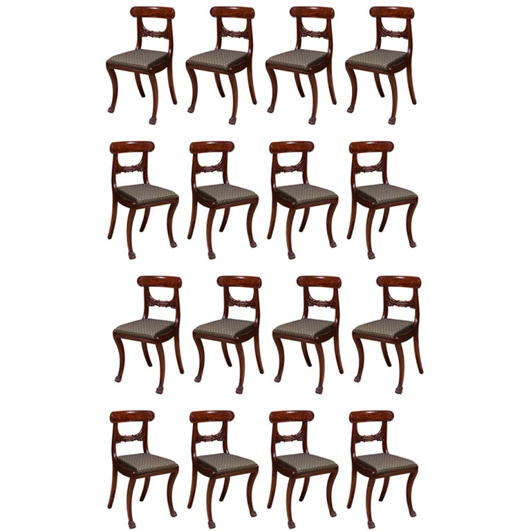 Set of 16 Klismos-Form Dining Chairs For Sale