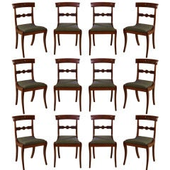 Set of Twelve Neoclassical Dining Chairs