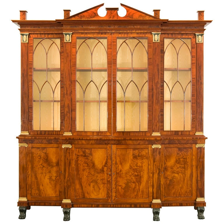 """American Breakfront Bookcase """"Library Bookcase with Wings"""" For Sale"""