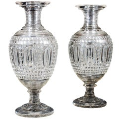 Monumental Pair of Clear Cut-Glass Vases