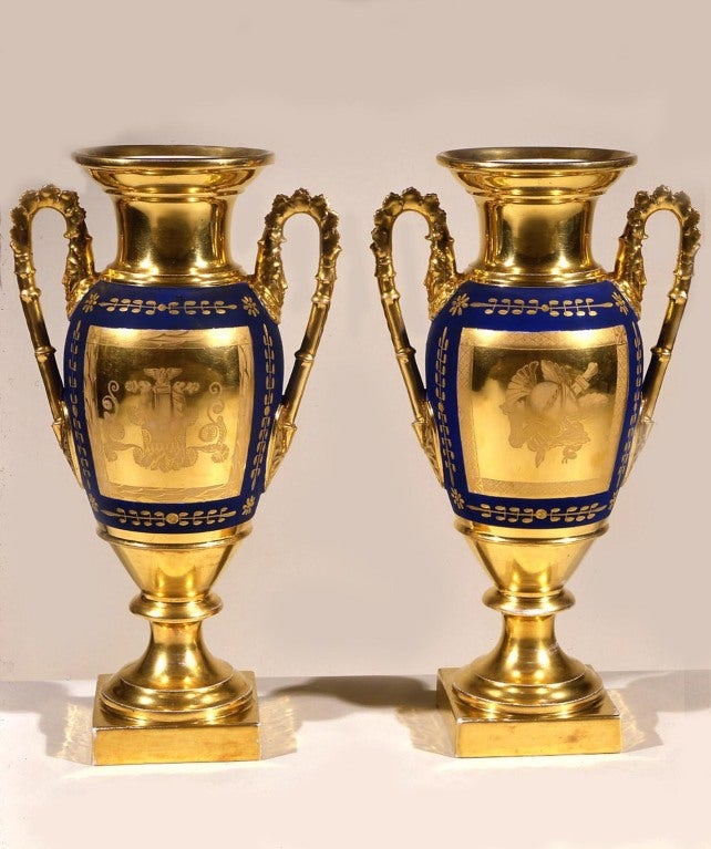 """Paris Porcelain Art Nouveau Period Lamp Chinese Taste: Pair """"Old Paris"""" Blue And Gold Porcelain Handled Vases At"""