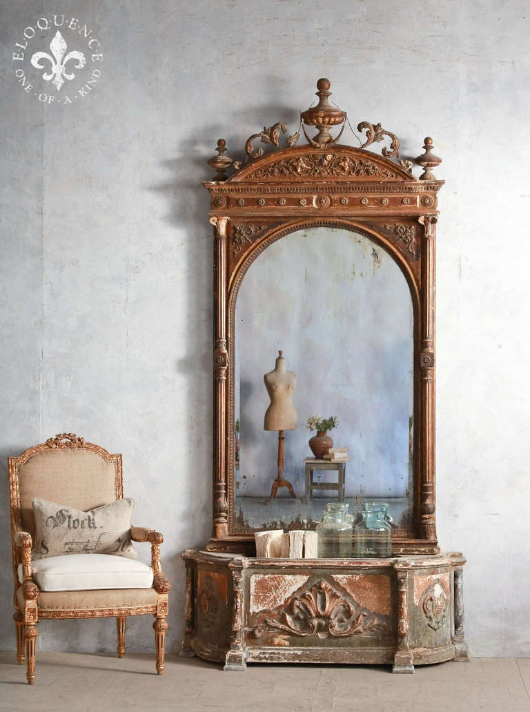 Stunning Large Antique Mirror With Planter At 1stdibs