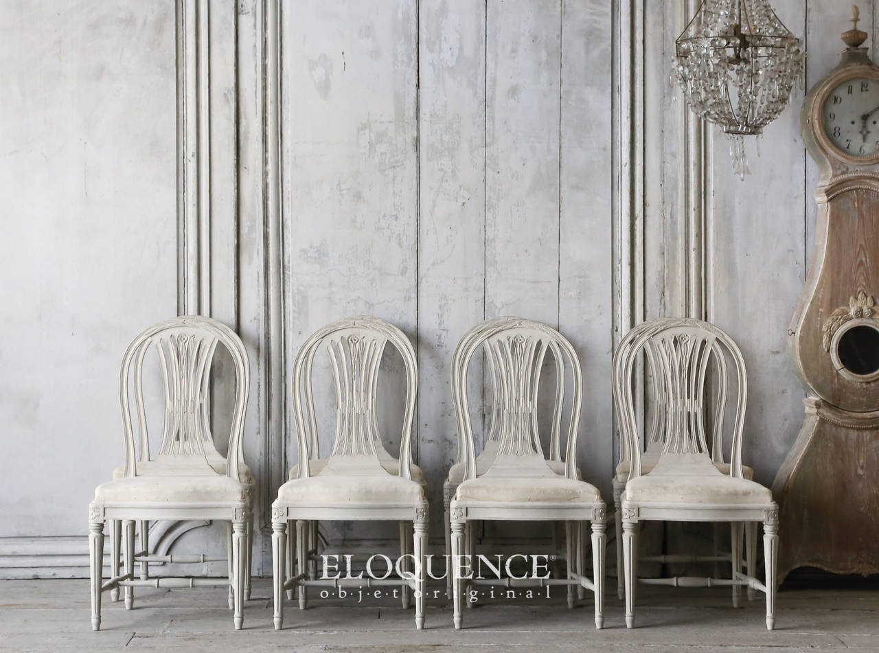 Wonderful Lovely Set Of Eight Swedish Vintage Gustavian Style Dining Chairs Finished  In Eggshell Paint And Stripped Design Ideas