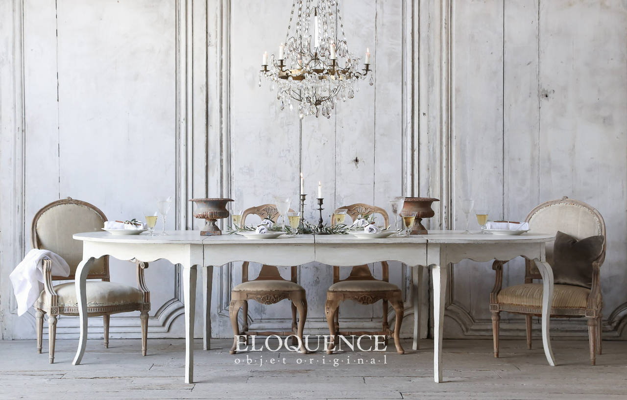 Large Antique Swedish Rococo Dining Table Circa 1900 At