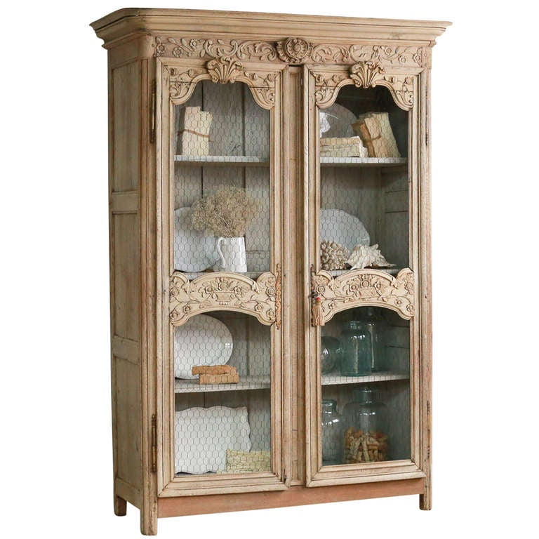 1850 Antique Bleached Oak Hand-Carved Wedding Armoire At
