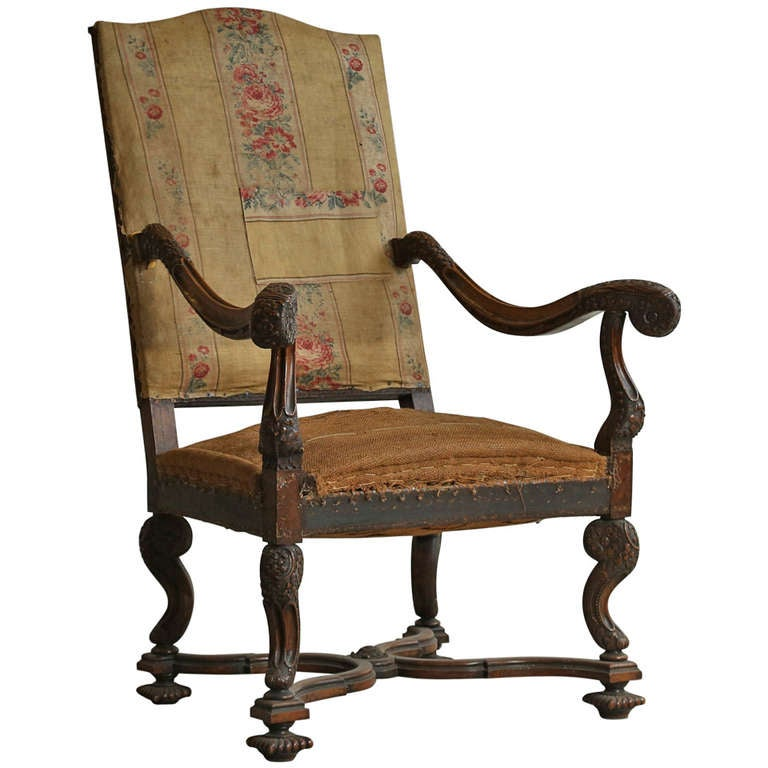 1870 Feminine Antique Louis XIV French Armchair at 1stdibs
