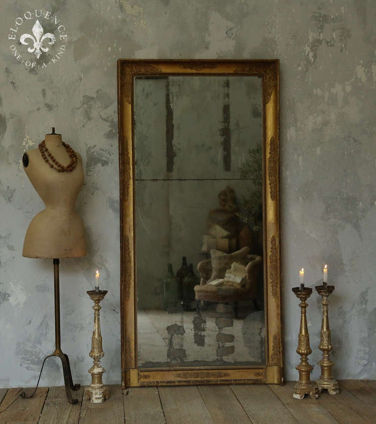 Antique Full Length Mirror With Original Paned Worn Glass