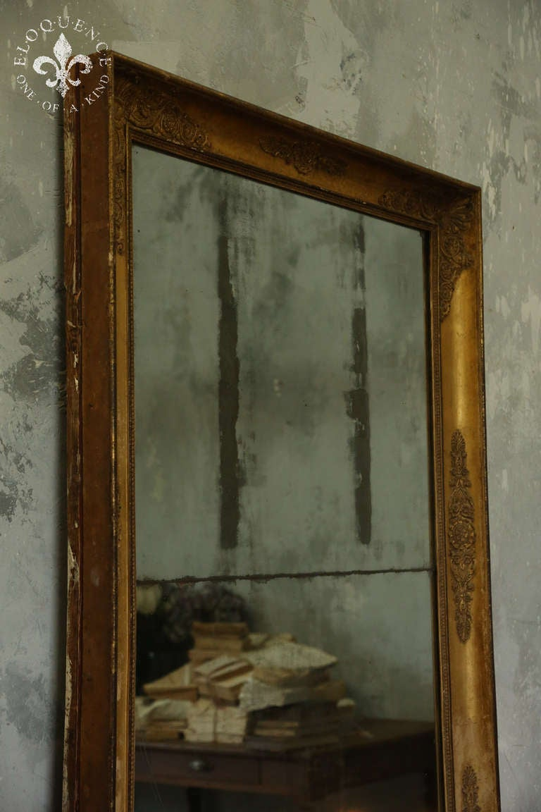 Antique full length mirror with original paned worn glass for Floor length mirror for sale