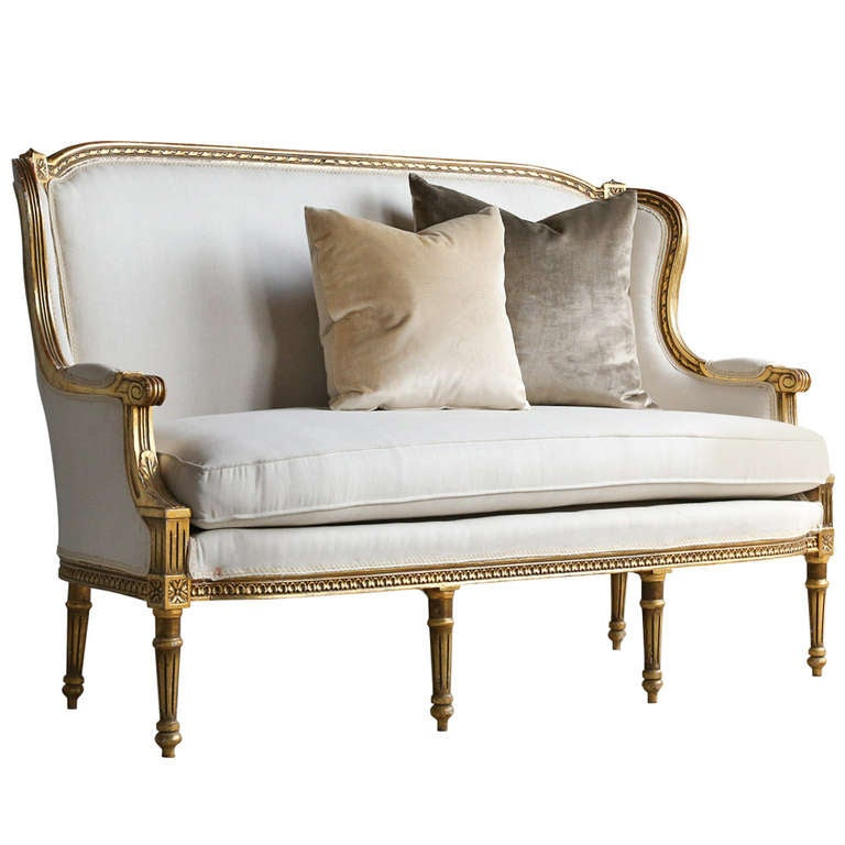 Wing back vintage louis xvi settee at 1stdibs for Small settee