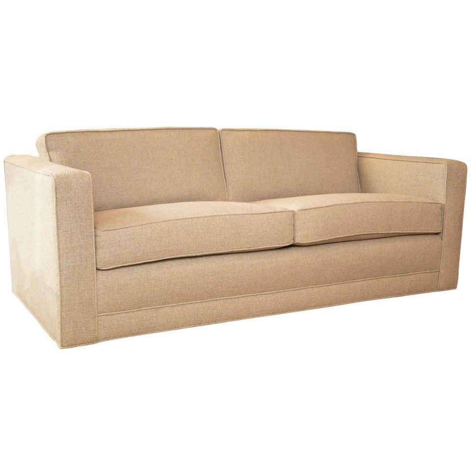 Mid Century Knoll Style Sofa In Custom Linen At 1stdibs