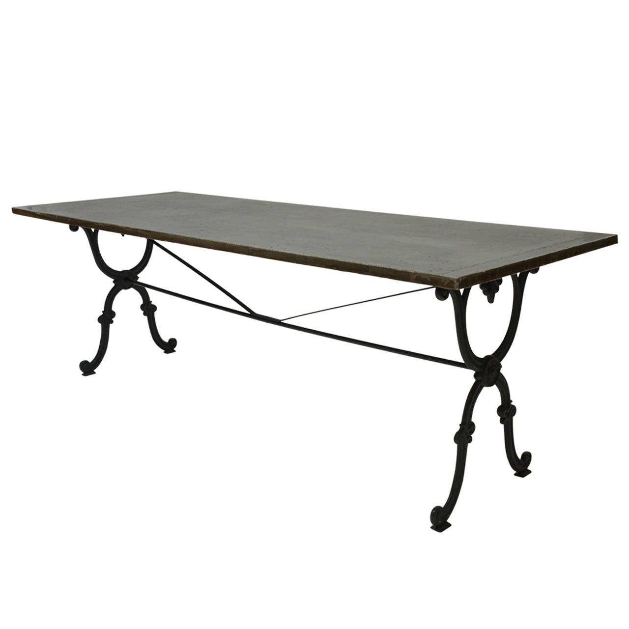 19th century cast iron base writing or dining table with for Cast iron dining table