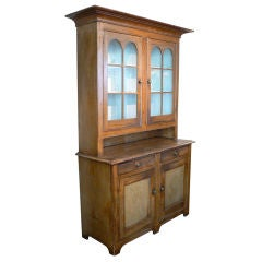Grain-painted Glass-front Stepback Cupboard