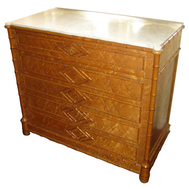 Faux Bamboo Bird's Eye Maple Chest of Drawers
