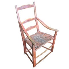 Canadian Red Painted Ladderback Armchair