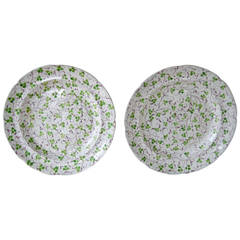Set of Two Porcelain Plates with Three-Leaf Clovers