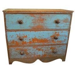 Blue Painted Three Drawer Dresser