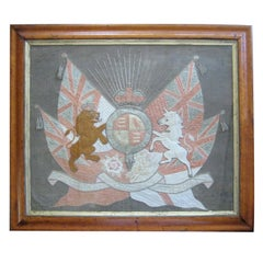 Framed Embroidered Armorial Coat of Arms