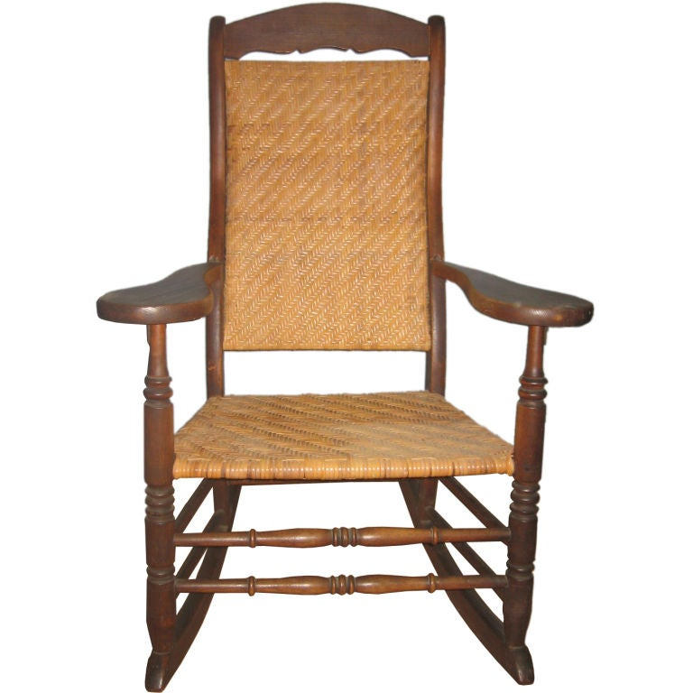 Large american rocking chair with new caning for sale at 1stdibs