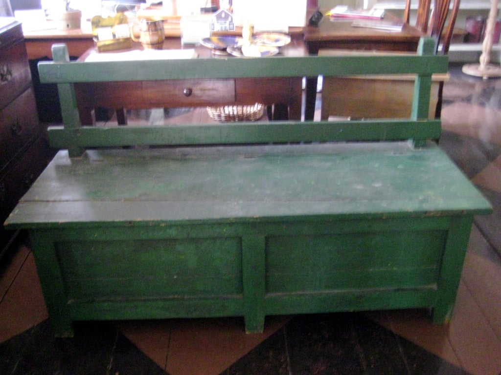 English Green painted bench For Sale
