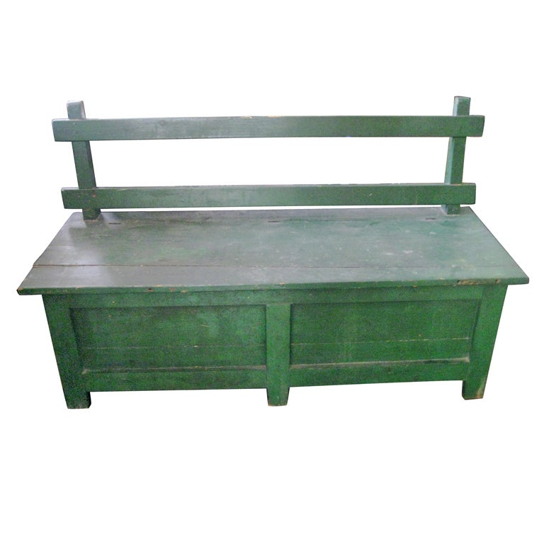 Green painted bench For Sale