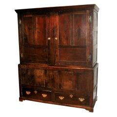 Large English oak food cupboard