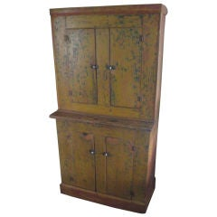 Yellow Painted Pine Stepback Cupboard