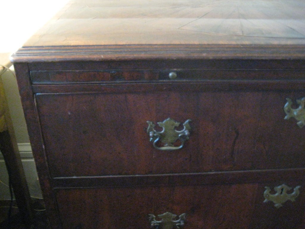 English Inlaid Walnut Chest of Drawers In Good Condition For Sale In Nantucket, MA