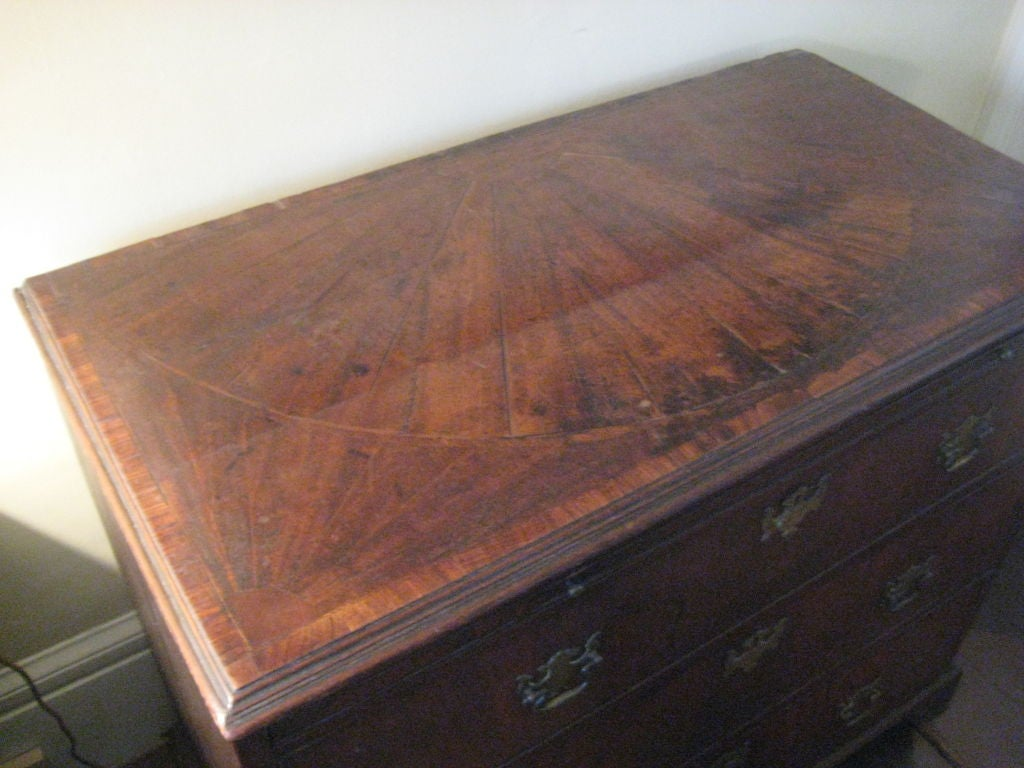 English Inlaid Walnut Chest of Drawers For Sale 1
