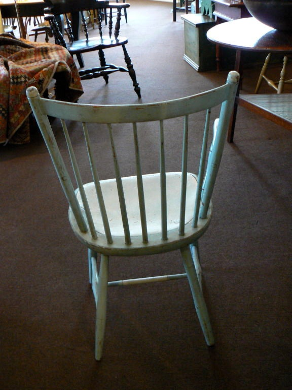 Blue Painted Windsor Chairs For Sale 1