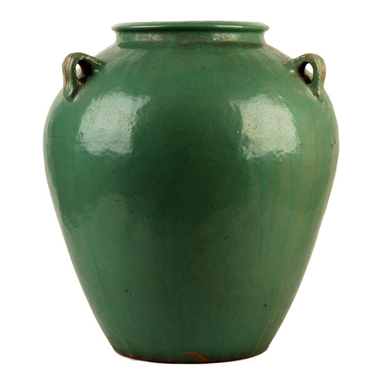 Large Green Ceramic Handle Jug At 1stdibs