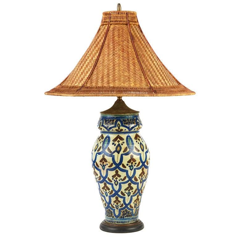 Persian Lamp With Wicker Shade At 1stdibs