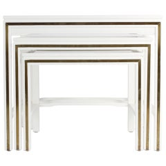 White Lacquered John Widdicomb Nesting Tables