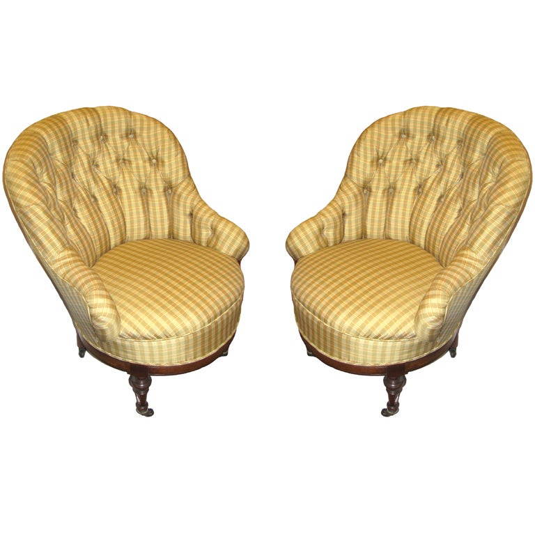 Pair Of Antique Barrel Back Chairs At 1stdibs