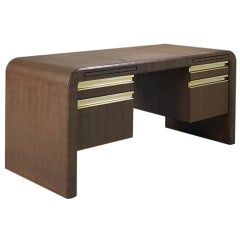 Embossed leather desk Karl Springer