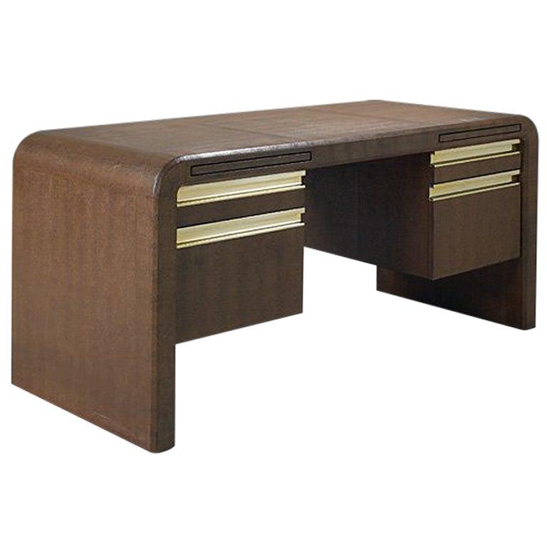 Embossed leather desk Karl Springer
