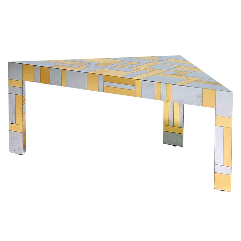 Illuminated Cityscape Corner Table by Paul Evans For Sale