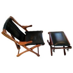 Rosewood and Leather Lounge Chair with Ottoman Don Shoemaker