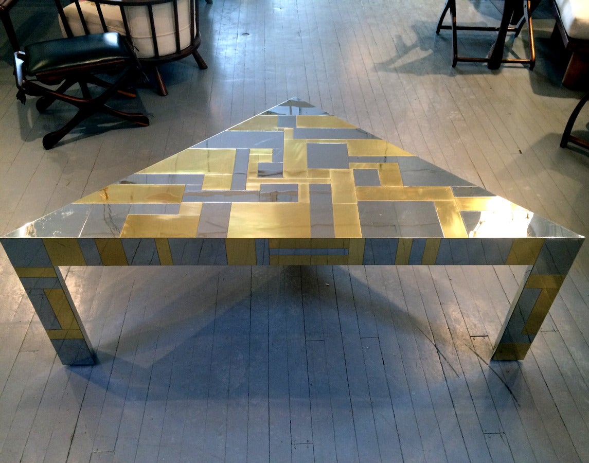Modern Illuminated Cityscape Corner Table by Paul Evans For Sale