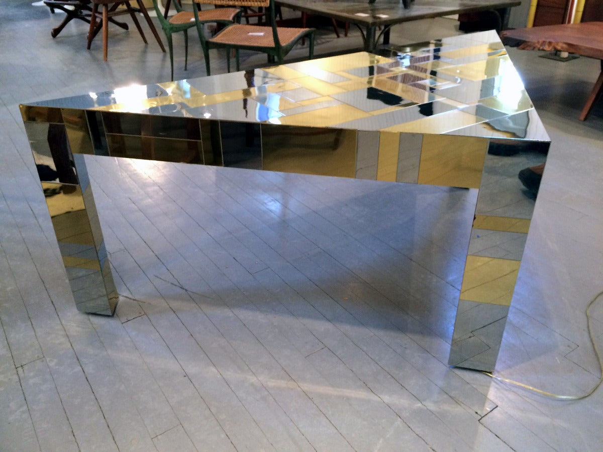 American Illuminated Cityscape Corner Table by Paul Evans For Sale