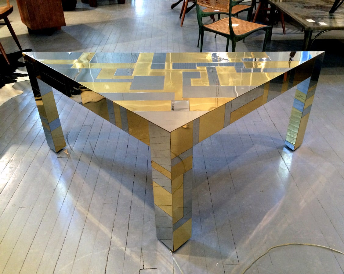 A triangular corner side table in the