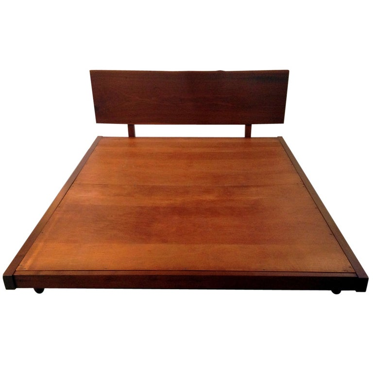 Platform Bed with Walnut Headboard George Nakashima For Sale