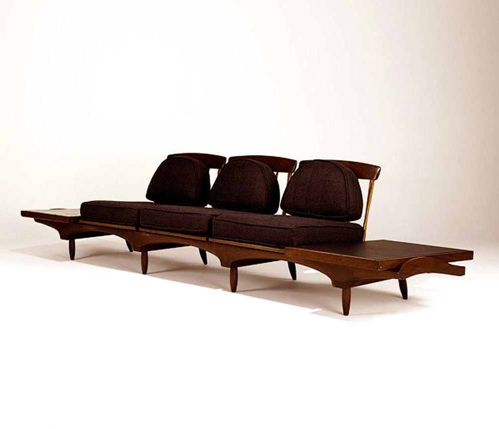 Studio Crafted Walnut Sofa Phillip Lloyd Powell For Sale