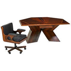 Rosewood Diamond Desk and Chair by Don Shoemaker