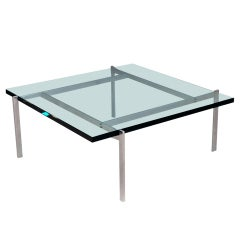 Danish glass top coffee table PK-61 Poul Kjaerholm
