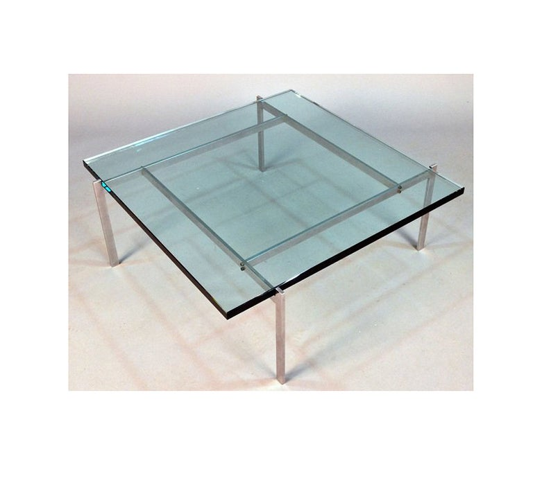 A classic danish mid-century iconic piece , a PK-61 coffee table designed by Poul Kjaerholm and manufactured by E. Kold Christensen. An early example with likely original glass top.