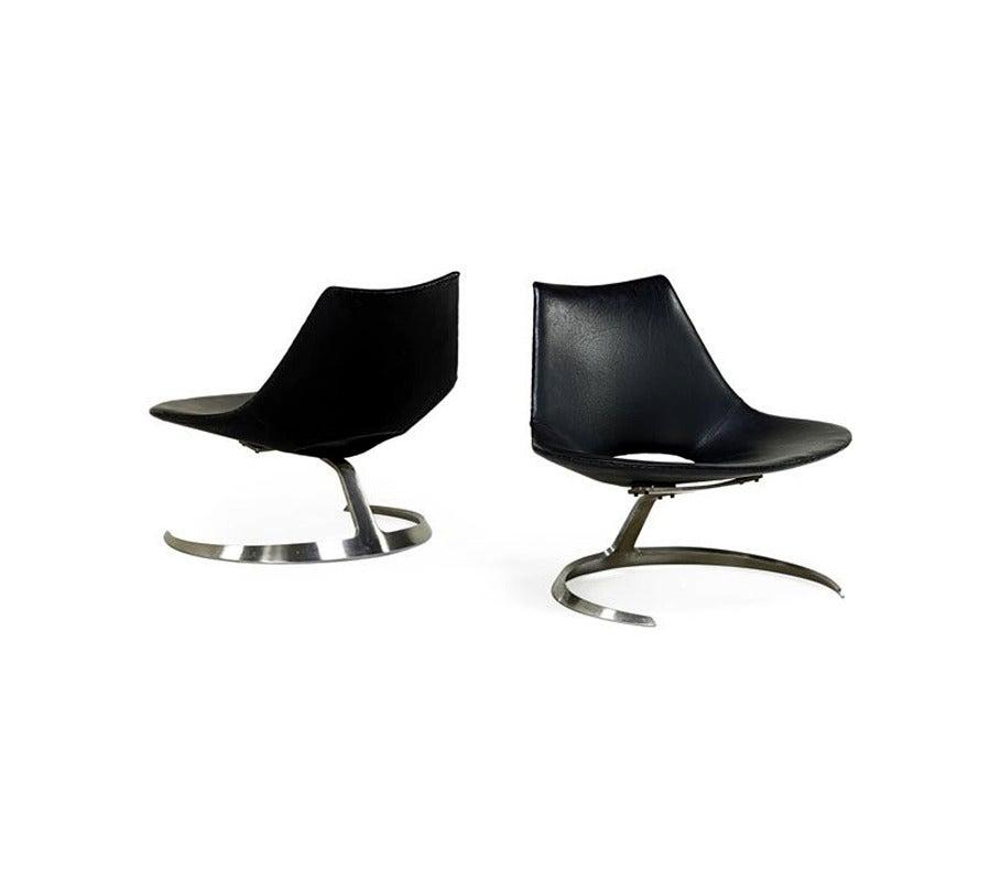 Pair of Rare Danish Scimitar Lounge Chairs