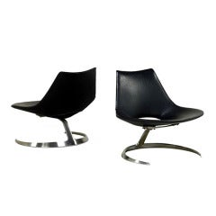 Pair of Rare Danish Scimitar Lounge Chairs
