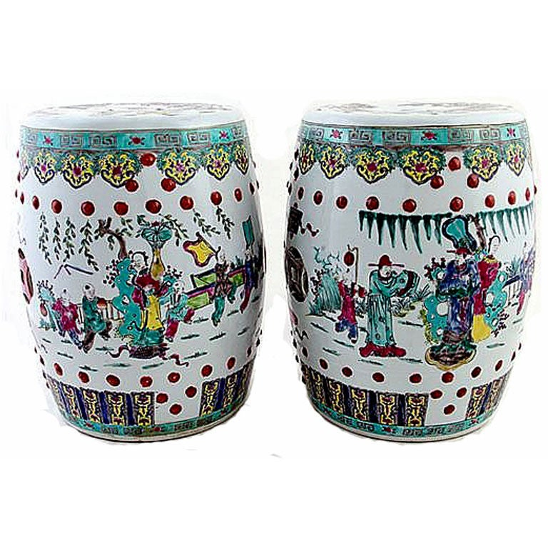Pair Of Antique Chinese Ceramic Garden Stools At 1stdibs